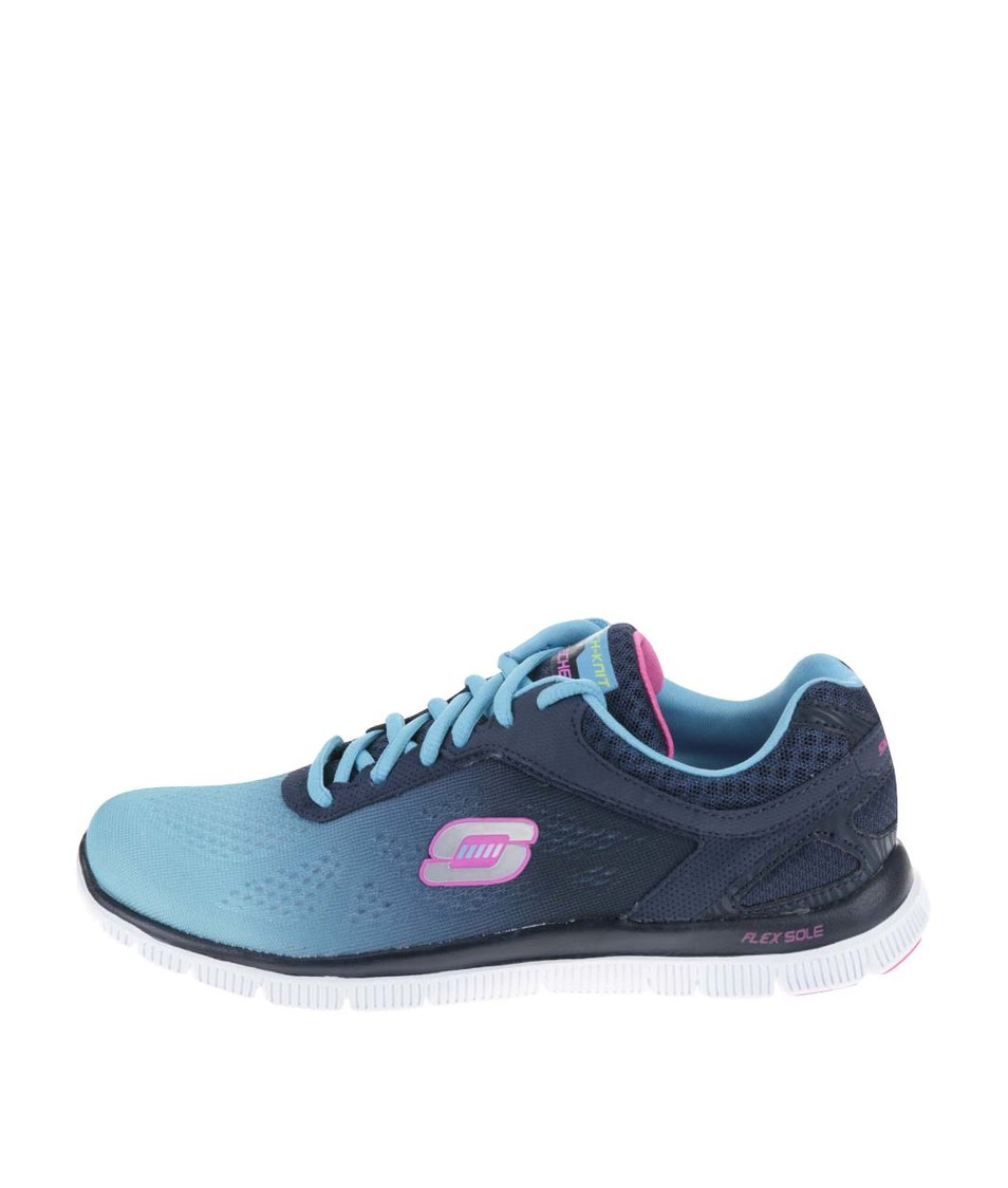 Modré dámské sportovní tenisky s duhovým efektem Skechers Style Icon