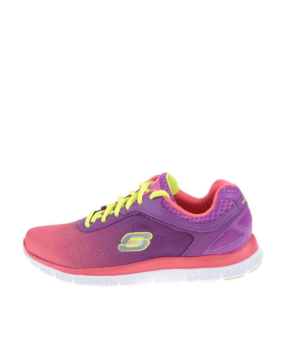 Růžové dámské sportovní tenisky s duhovým efektem Skechers Style Icon