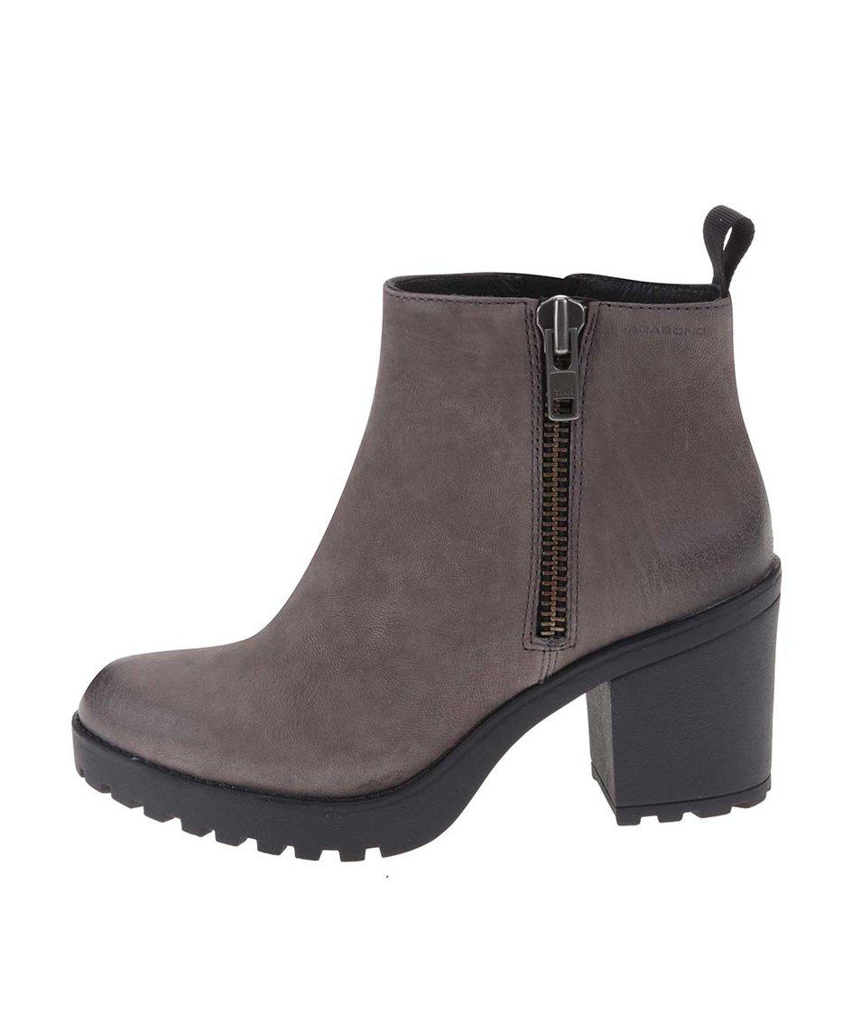 Hnědošedé kožené kotníkové boty Vagabond Grace
