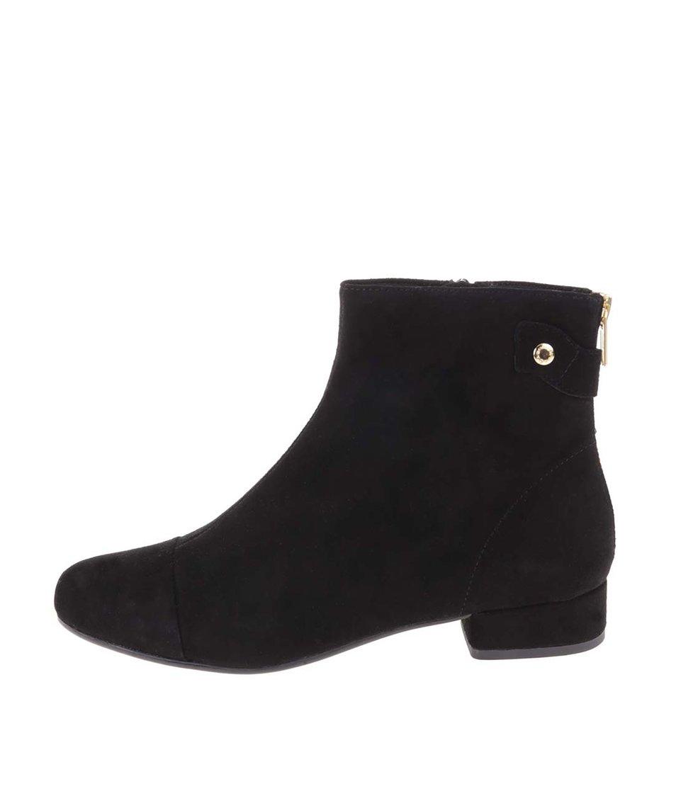 Černé kožené kotníkové boty Vagabond Sue