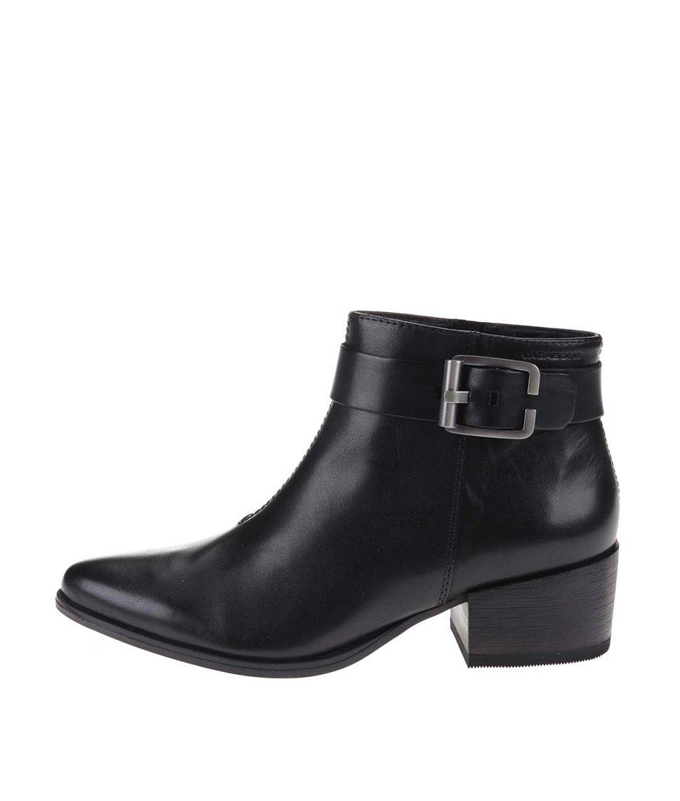 Černé kožené kotníkové boty Vagabond Marja
