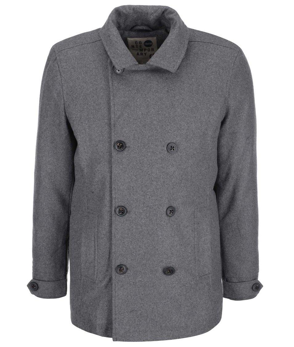 Šedý žíhaný kabát s podšívkou !Solid Rieden
