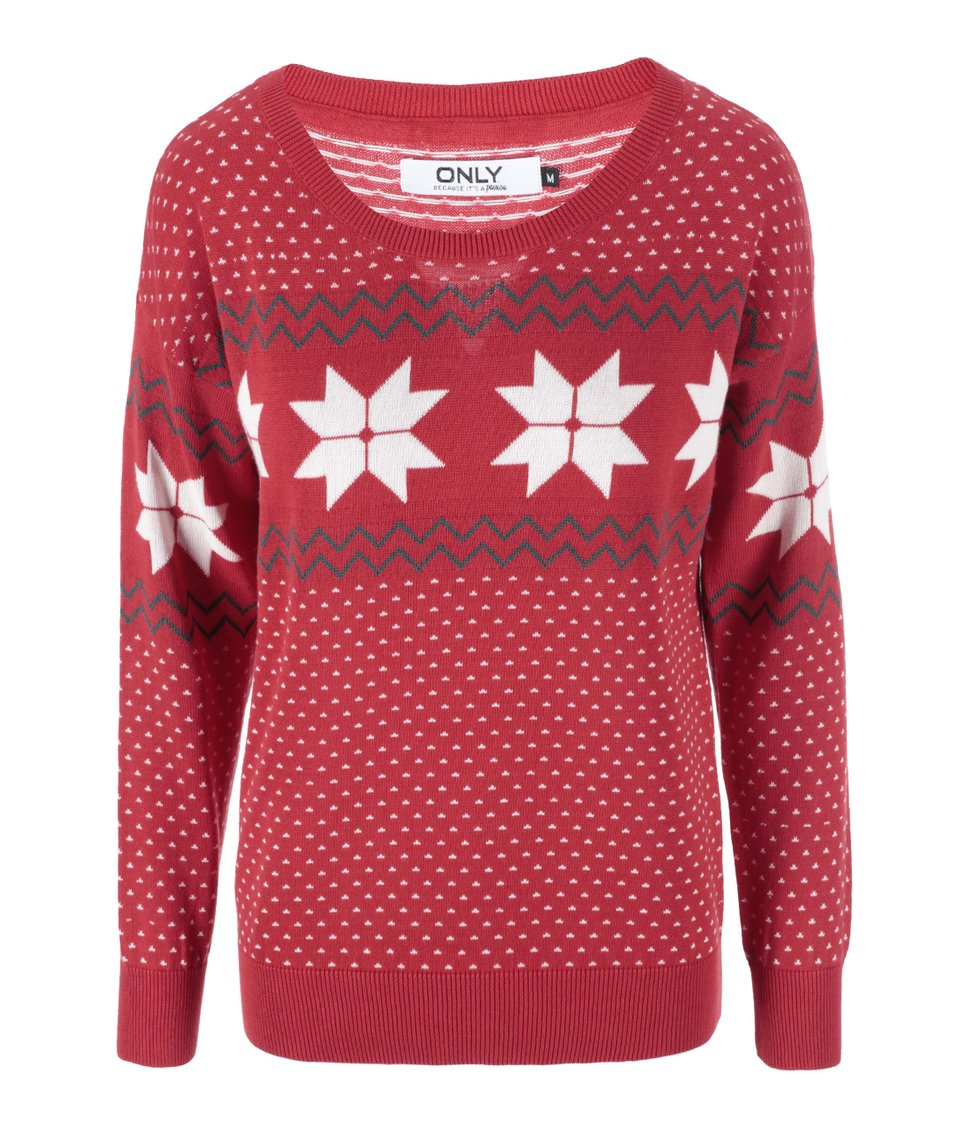 Červený svetr se vzorem ONLY XChristmas
