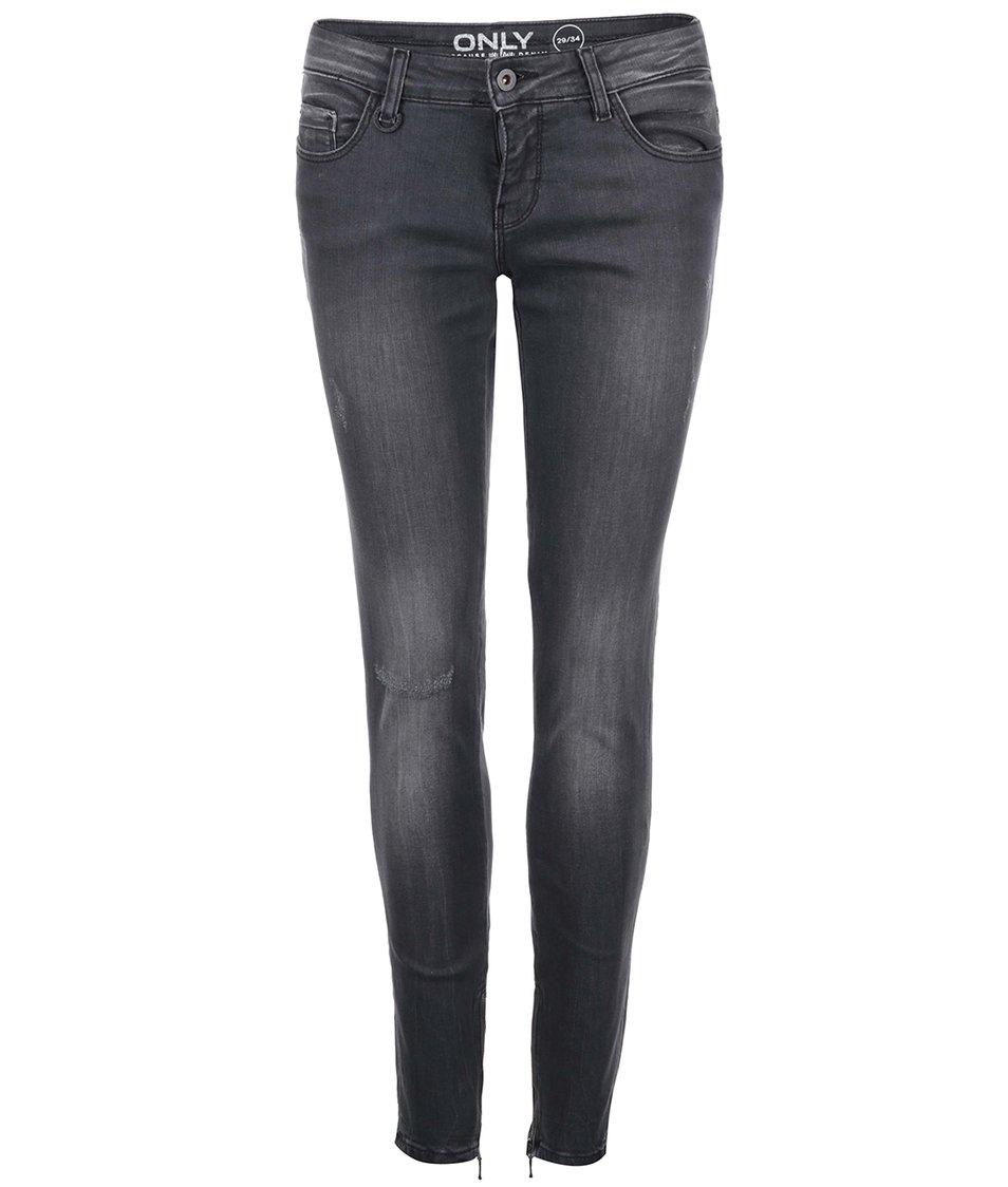 Tmavě šedé džíny se zipy na ONLY Carrie