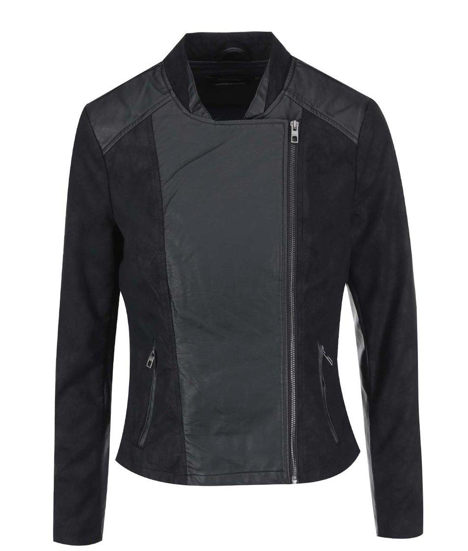 Černá koženková bunda ONLY Carma