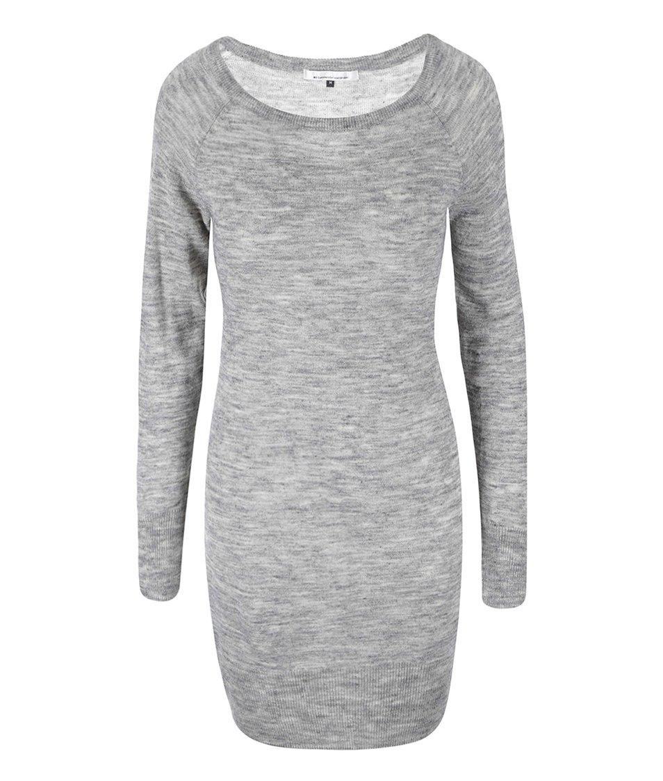 Světle šedé šaty s dlouhým rukávem ONLY Serena