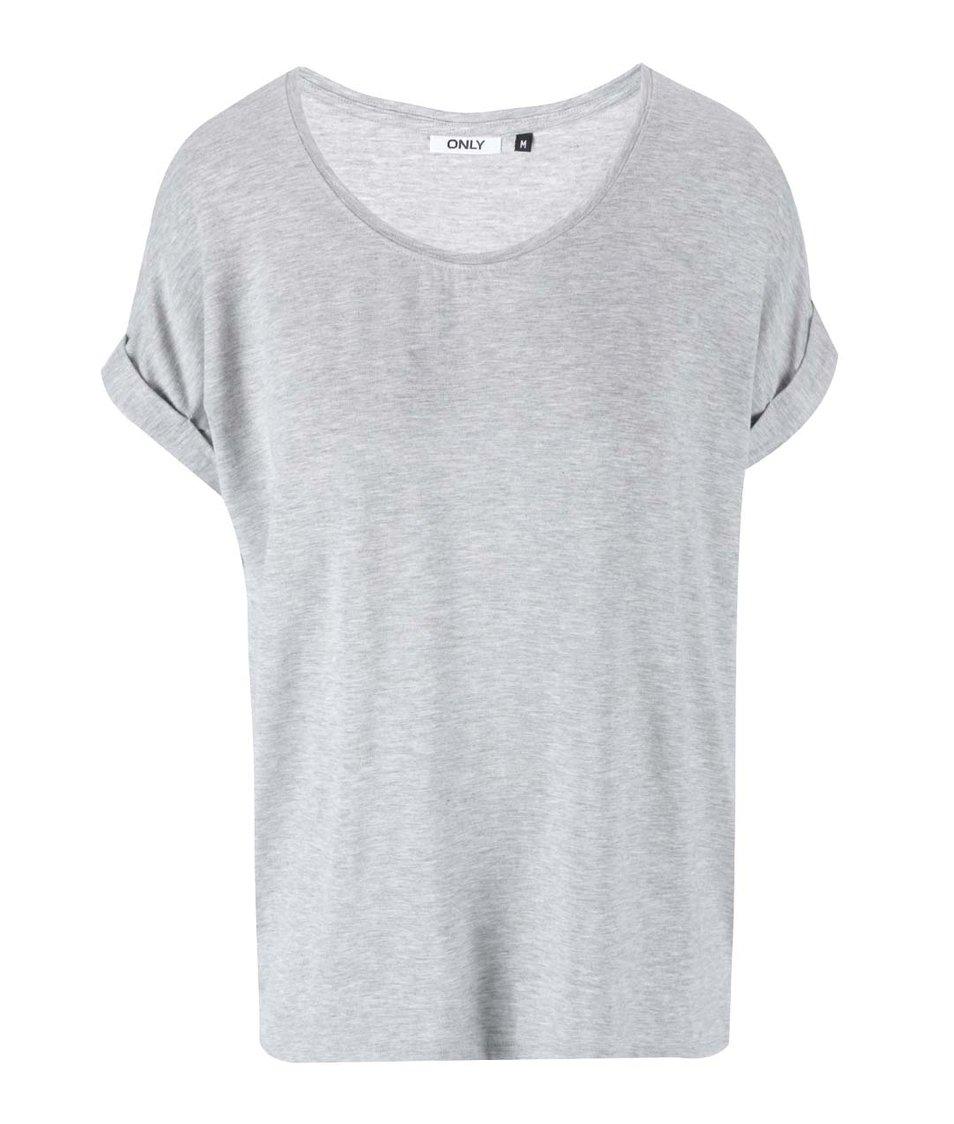 Světle šedé oversized tričko ONLY Moster