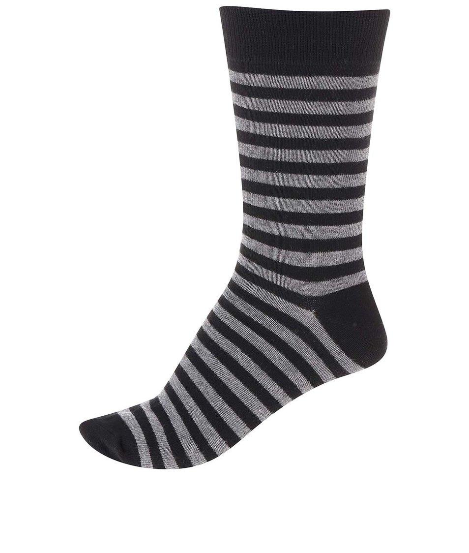 Šedo-černé pánské pruhované ponožky !Solid Tarick