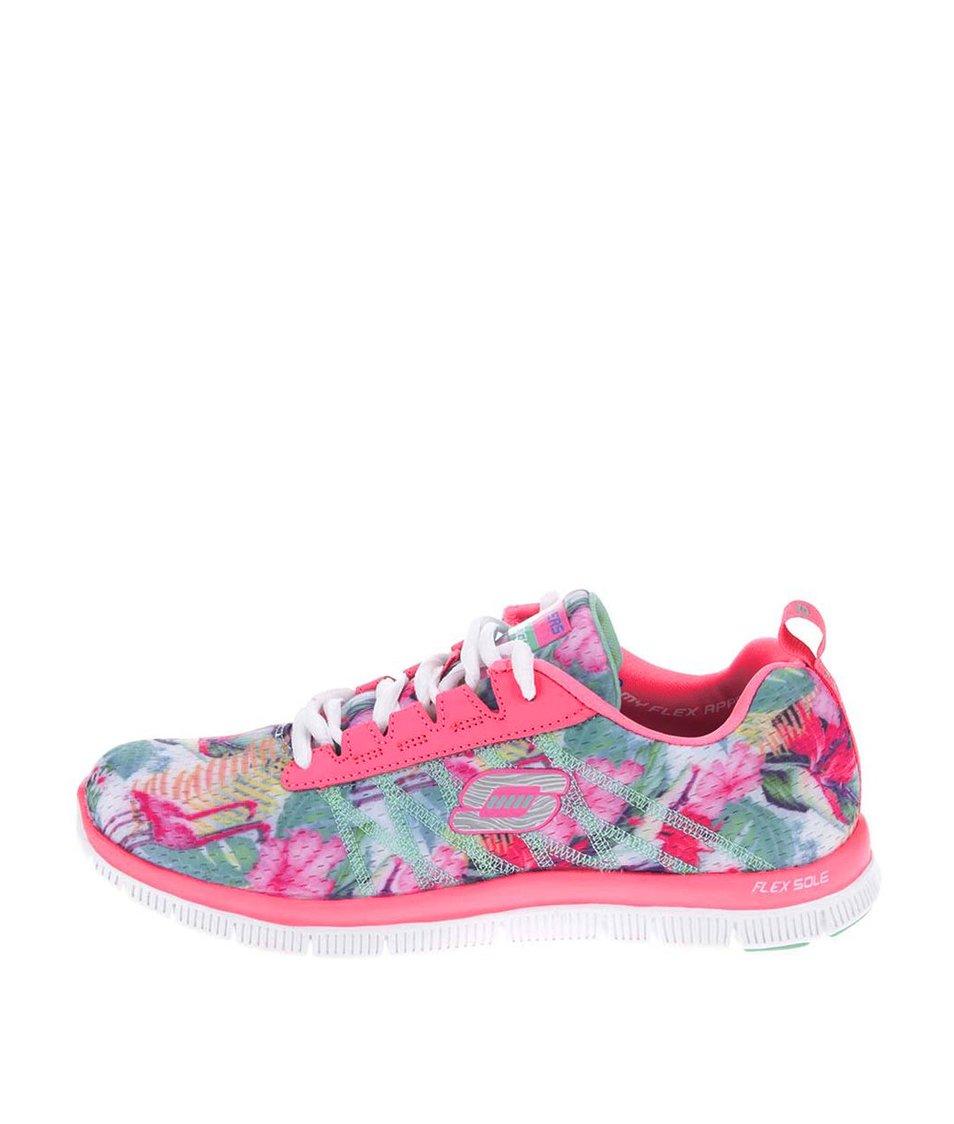 Růžové dámské sportovní tenisky se vzorem Skechers Floral Bloom