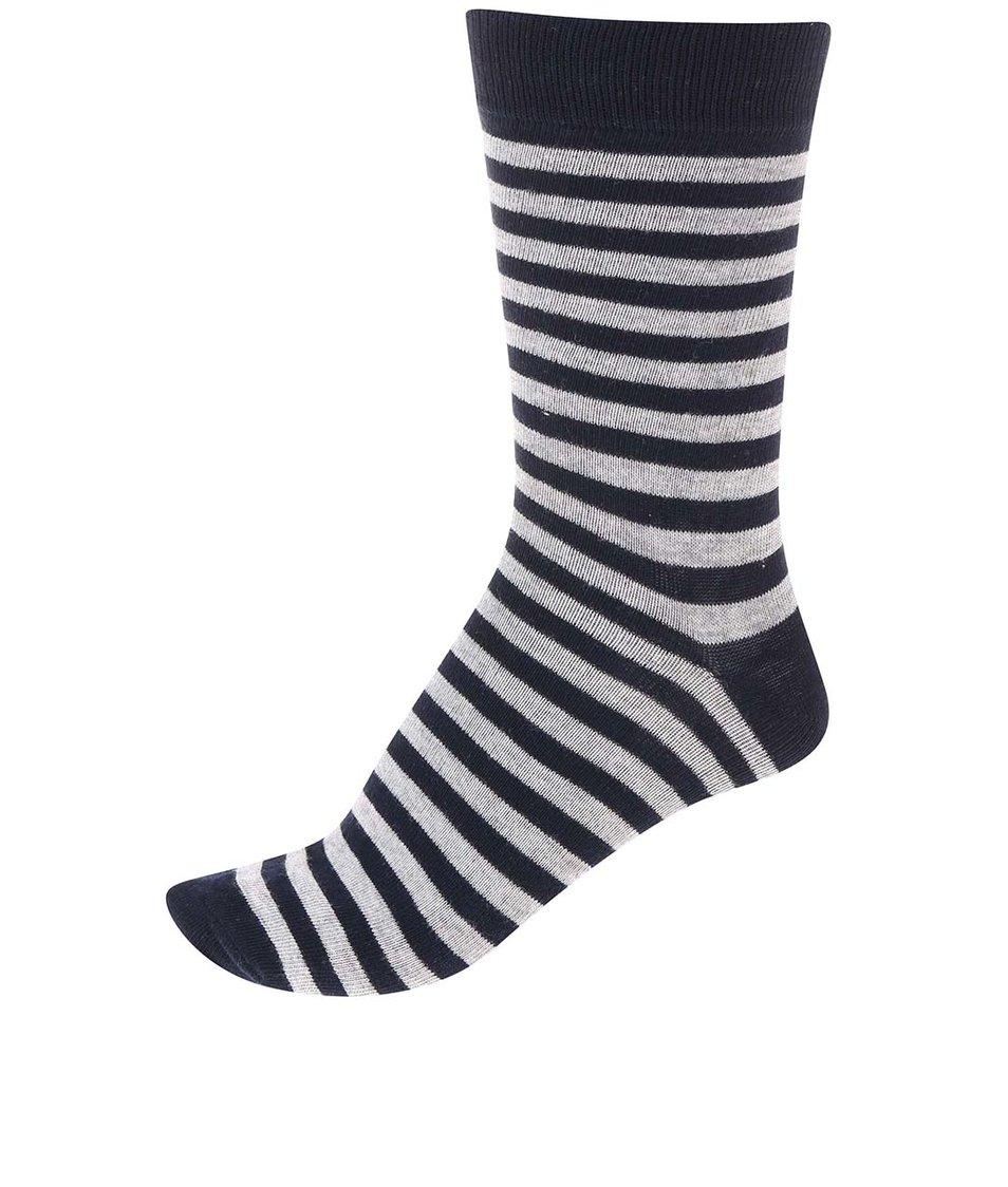 Šedo-modré pánské pruhované ponožky !Solid Tarick