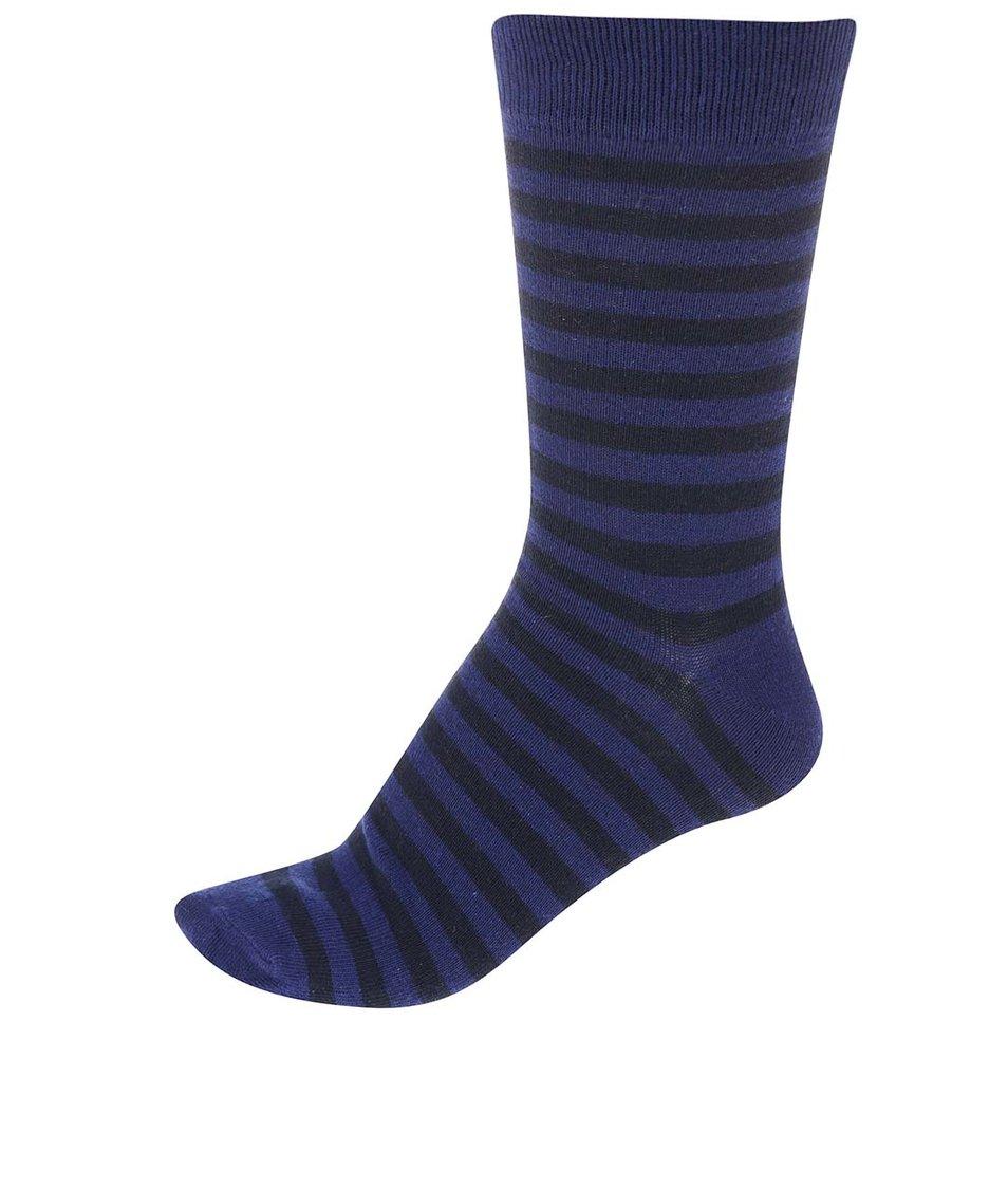 Černo-modré pánské pruhované ponožky !Solid Tarick