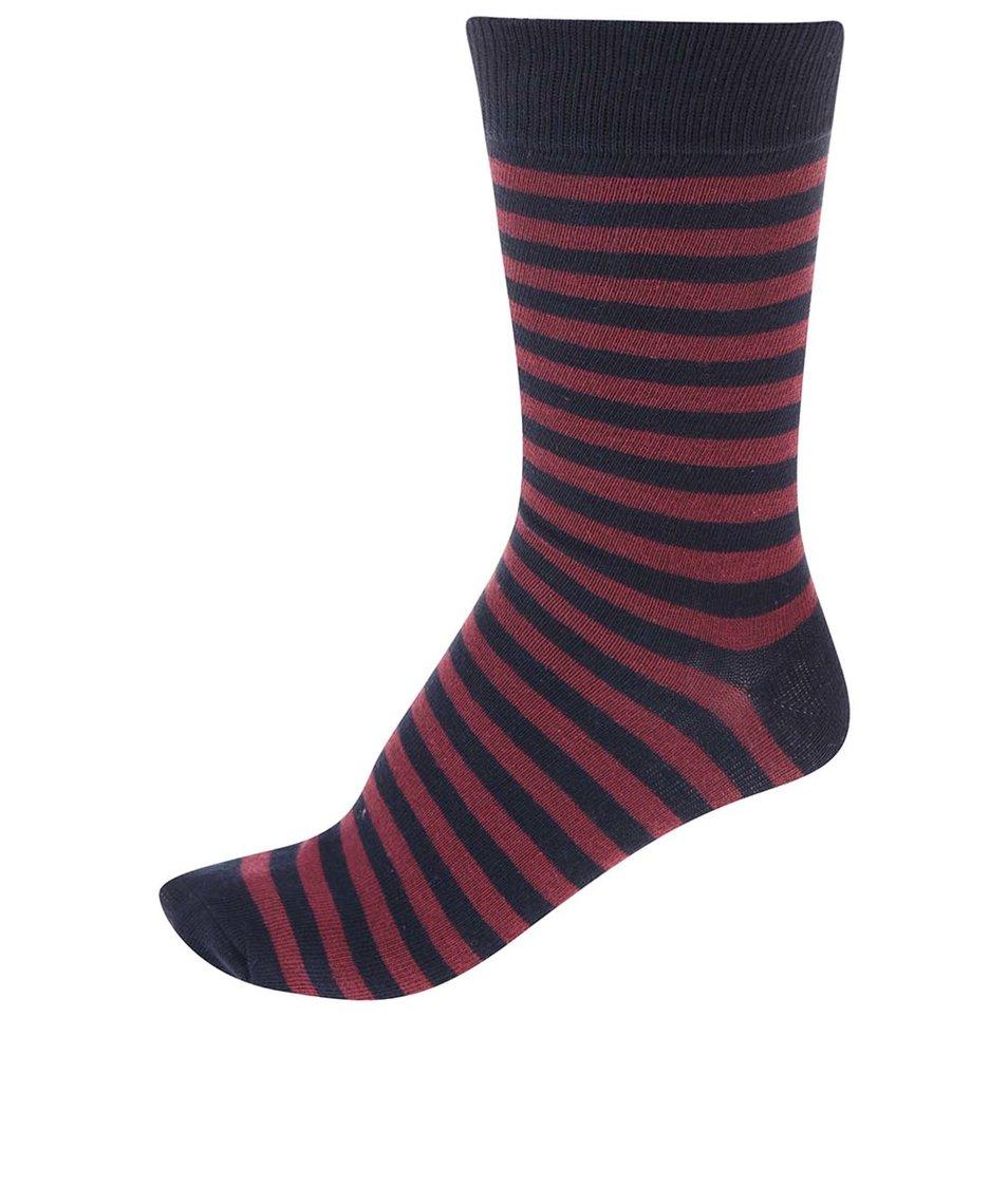 Vínovo-černé pánské pruhované ponožky !Solid Tarick