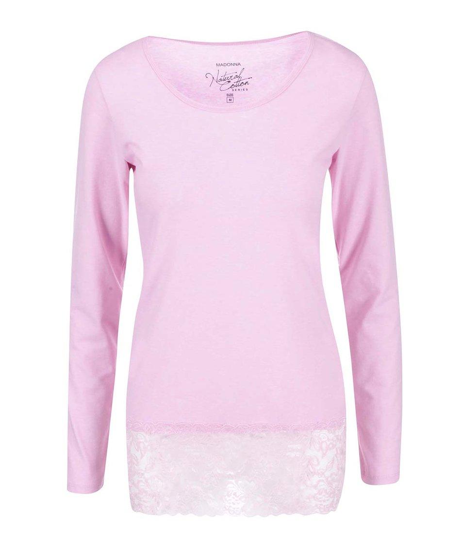 Růžové tričko s dlouhým rukávem Madonna Lace