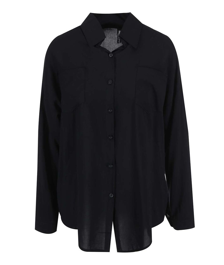 Černá volná košile se zipem na zádech Madonna Fundaturn Up