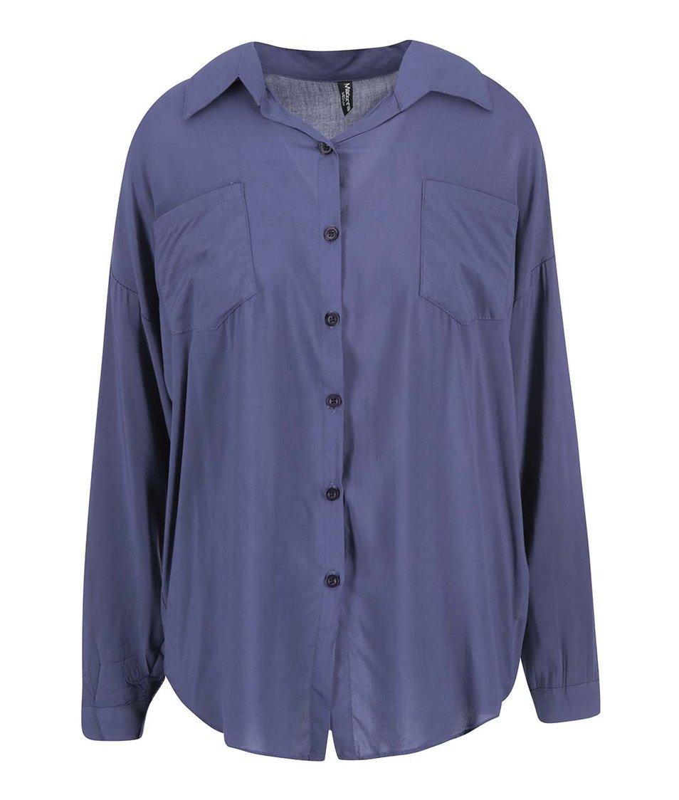 Modrá volná košile se zipem na zádech Madonna Fundaturn Up