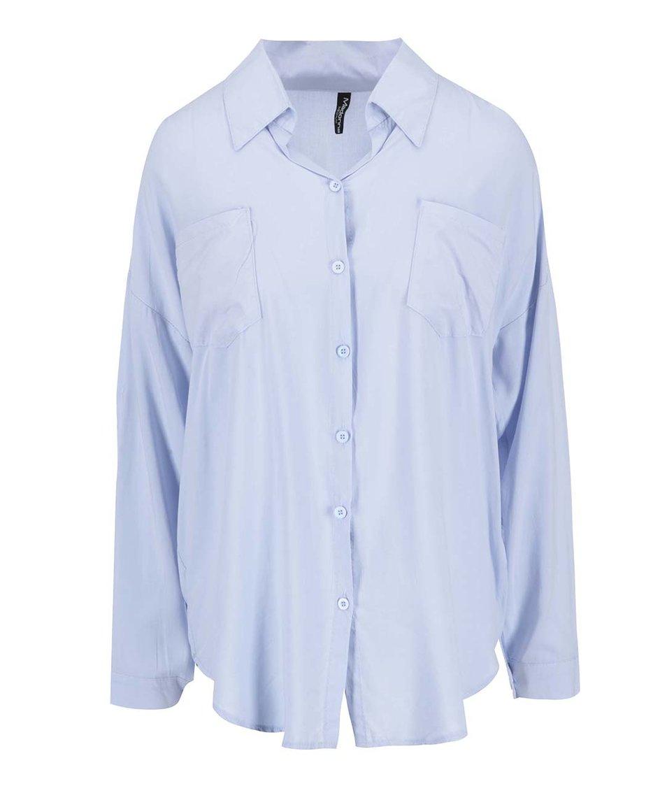 Světle modrá volná košile se zipem na zádech Madonna Fundaturn Up