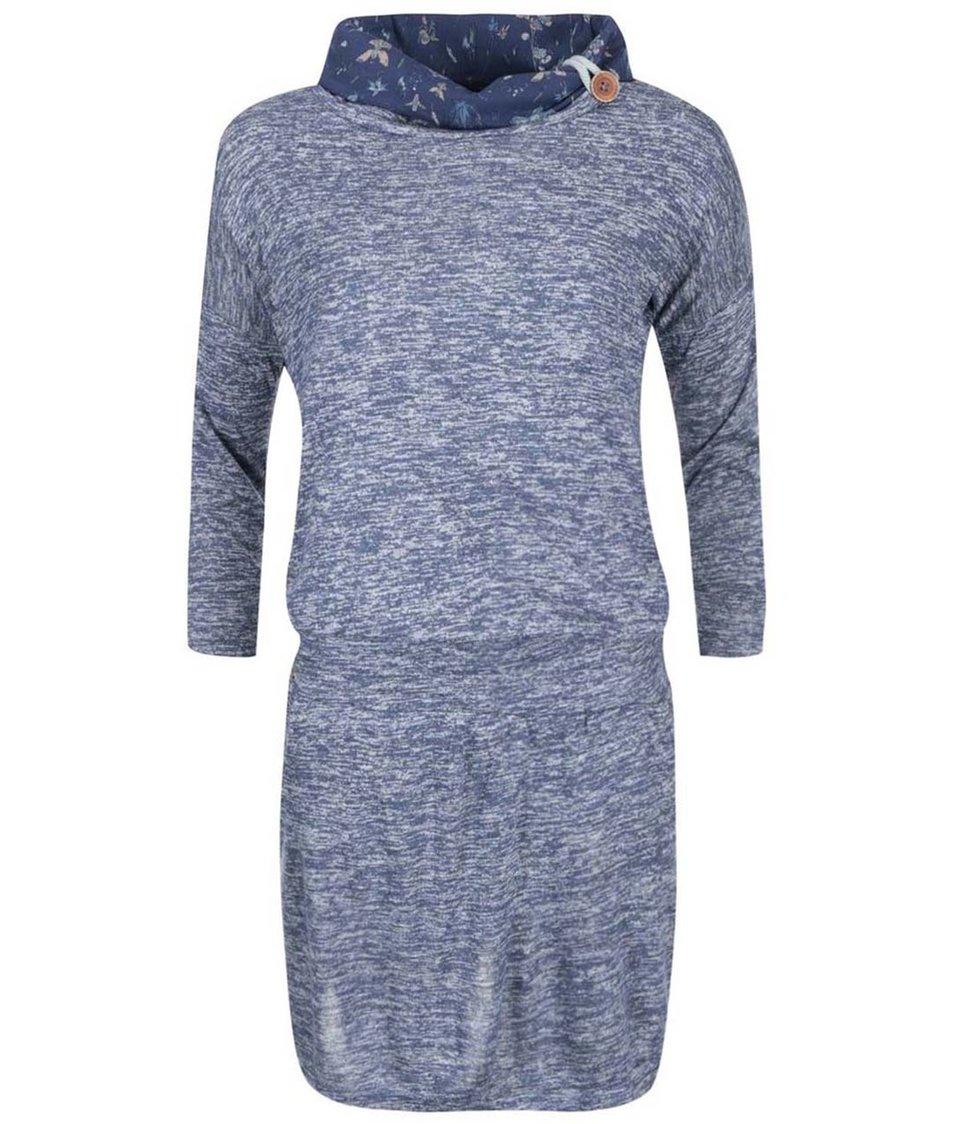Modré dámské žíhané šaty s květinovým límcem Ragwear Margarita