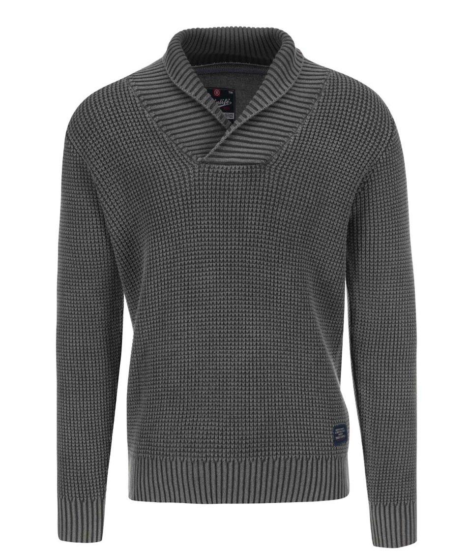 Šedý svetr s výrazným límcem Twinlife