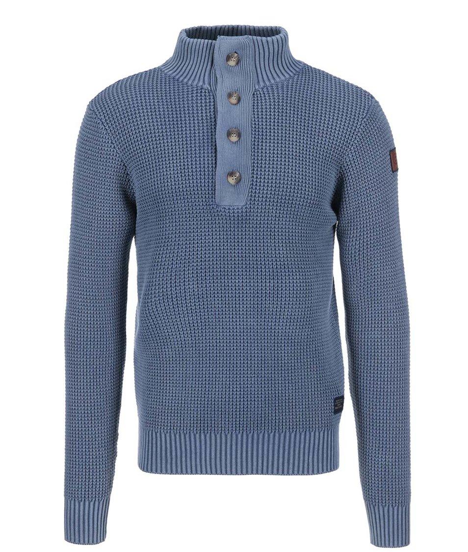 Modrý svetr s knoflíky u krku Twinlife