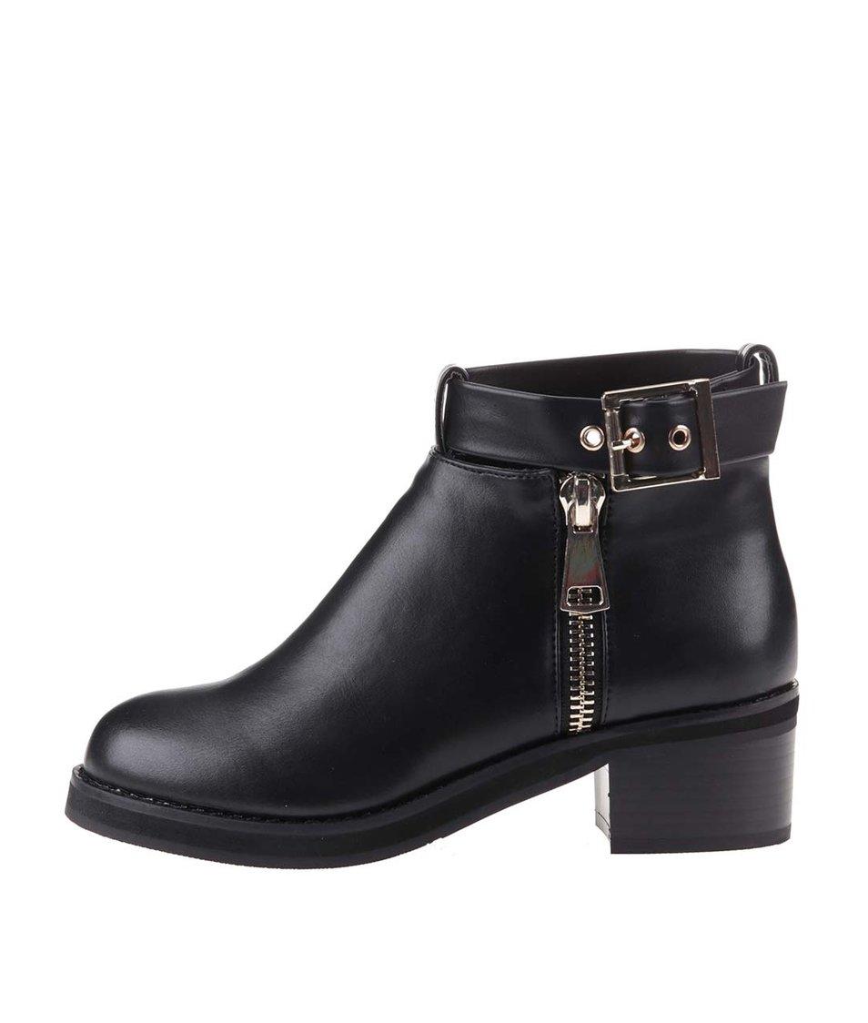 Černé kotníkové boty Pieces Verda