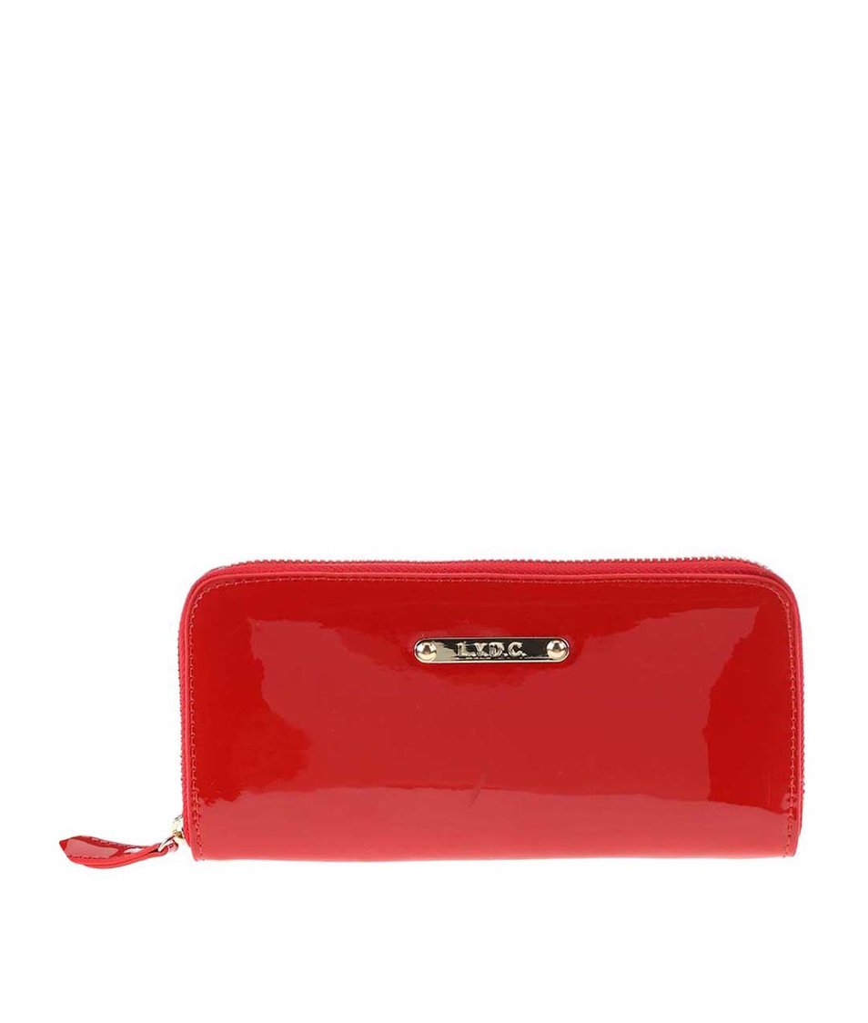 Červená lesklá peněženka LYDC