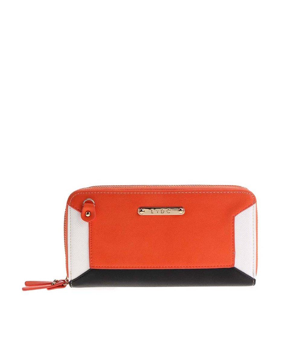 Černo-oranžová peněženka s bílým detailem LYDC