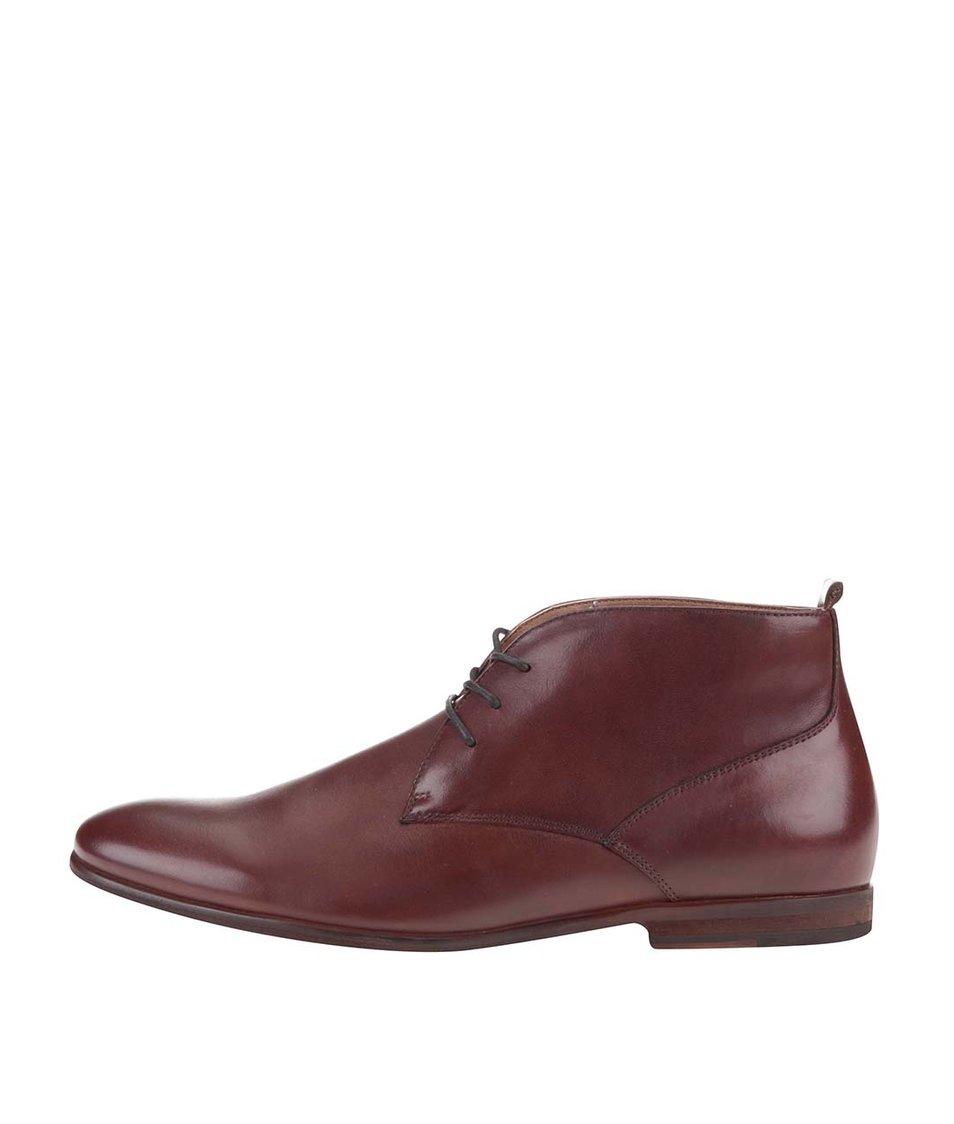 Hnědé pánské kožené kotníkové boty ALDO Mireama