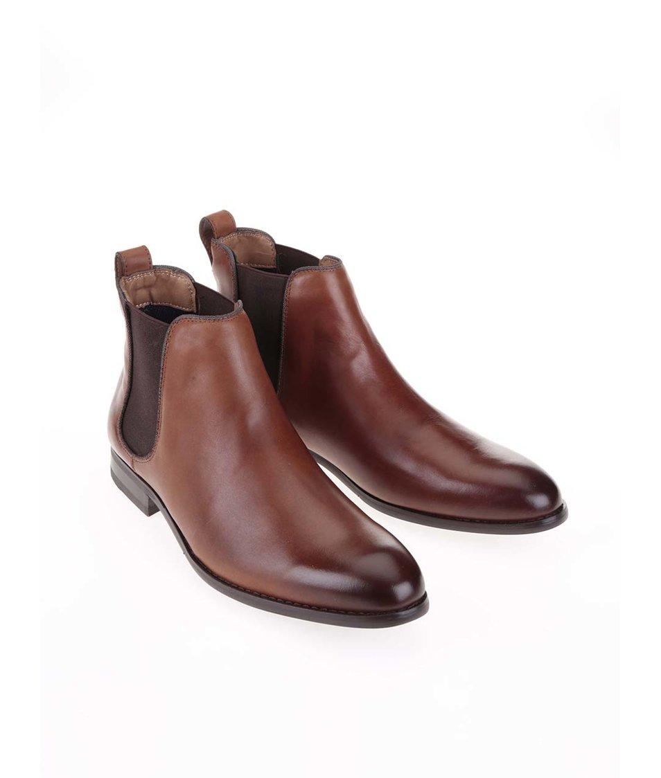Hnědé pánské kožené chelsea boty ALDO Merin