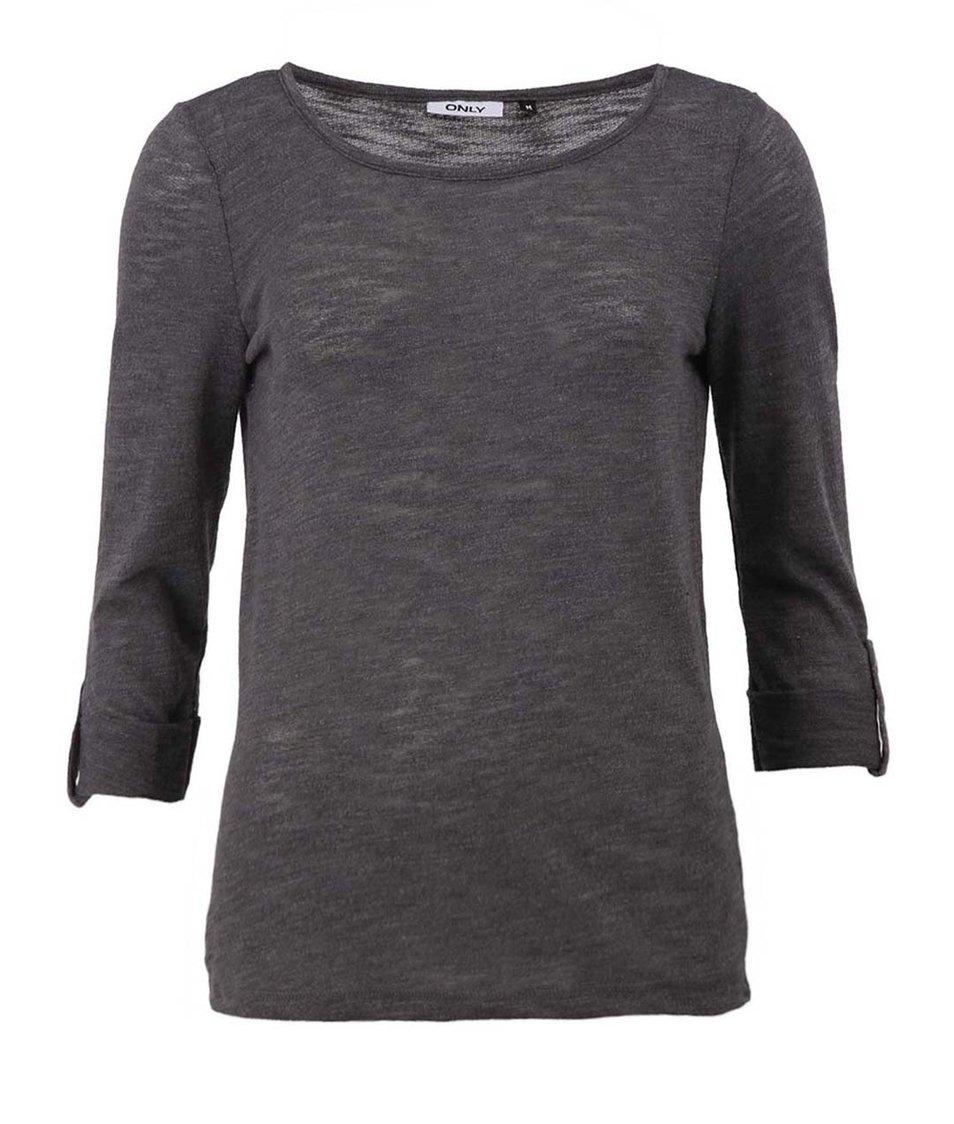 Tmavě šedé triko s 3/4 rukávem ONLY Jess