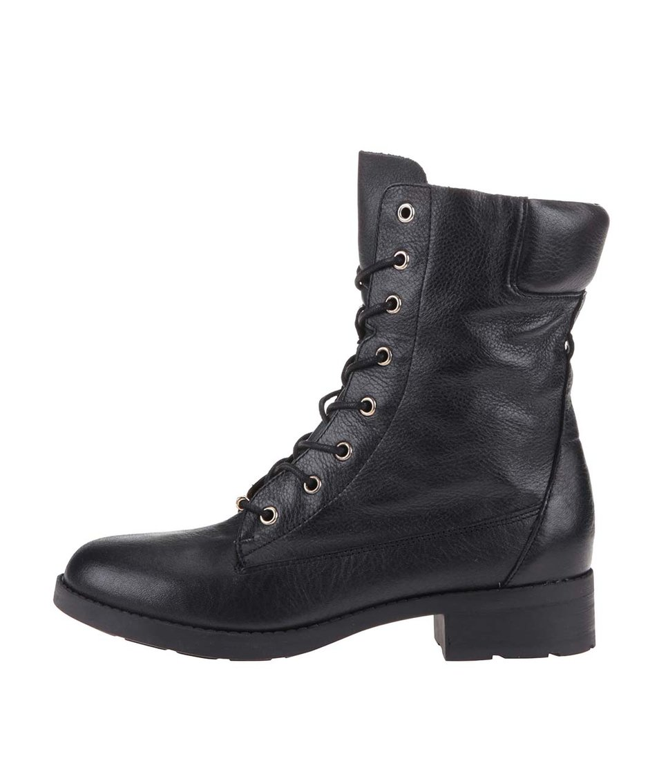 Černé dámské kožené šněrovací boty ALDO Kandy