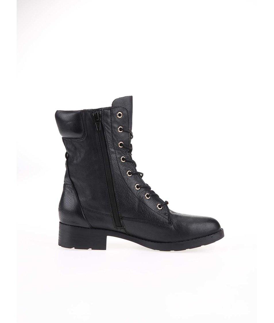 Černé dámské kožené šněrovací boty ALDO Kandy - Vánoční HIT!  0819c5e672