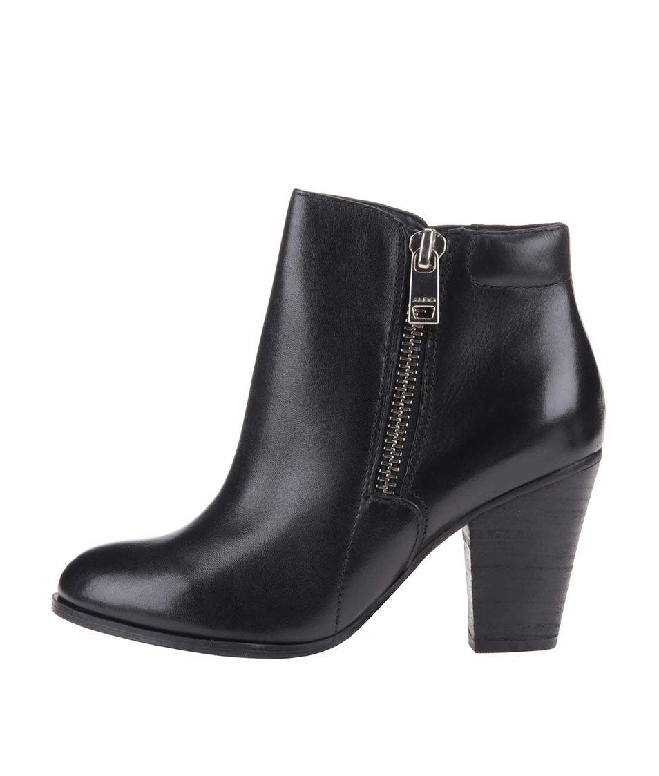 Černé kožené boty se zipem ALDO Janella