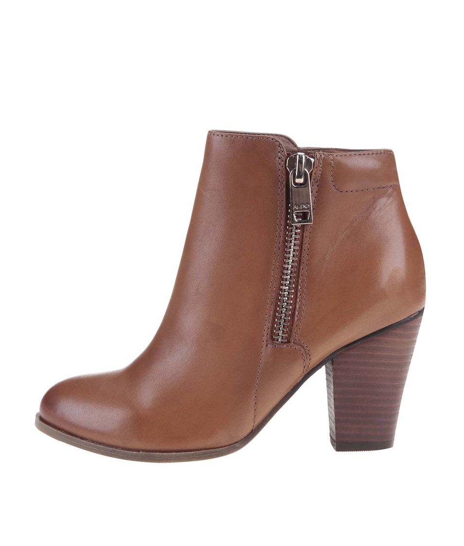 Hnědé kožené boty se zipem ALDO Janella