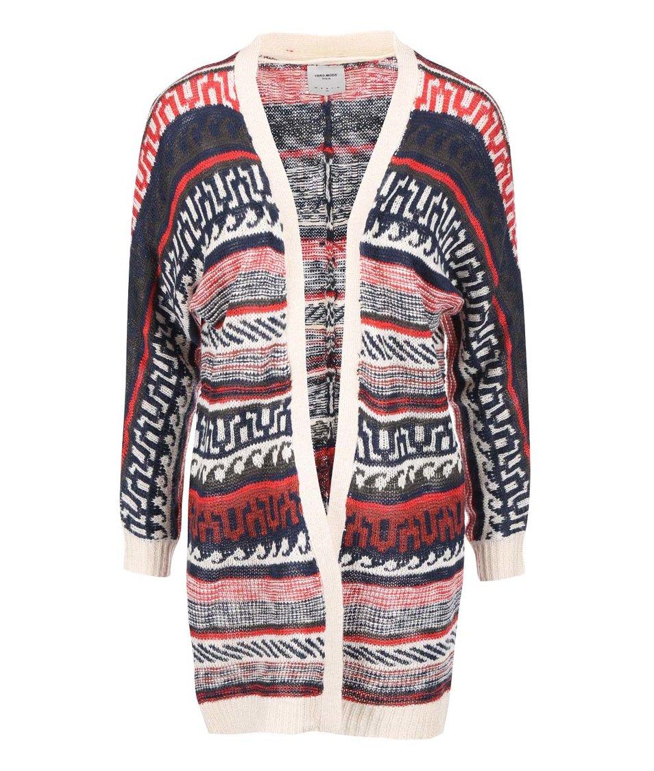 Modro-červený pletený cardigan se vzorem Vero Moda Felipa