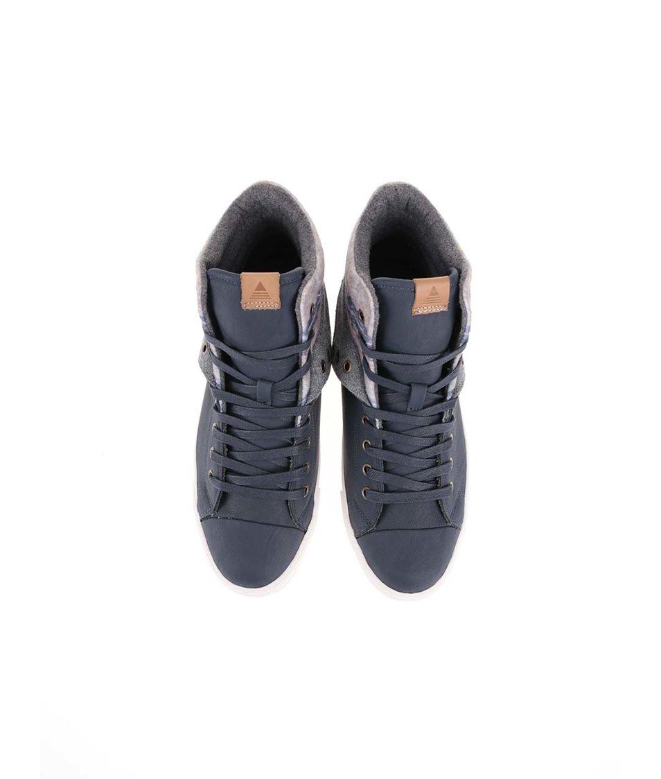 Tmavě modré pánské kožené kotníkové tenisky ALDO Bruggi