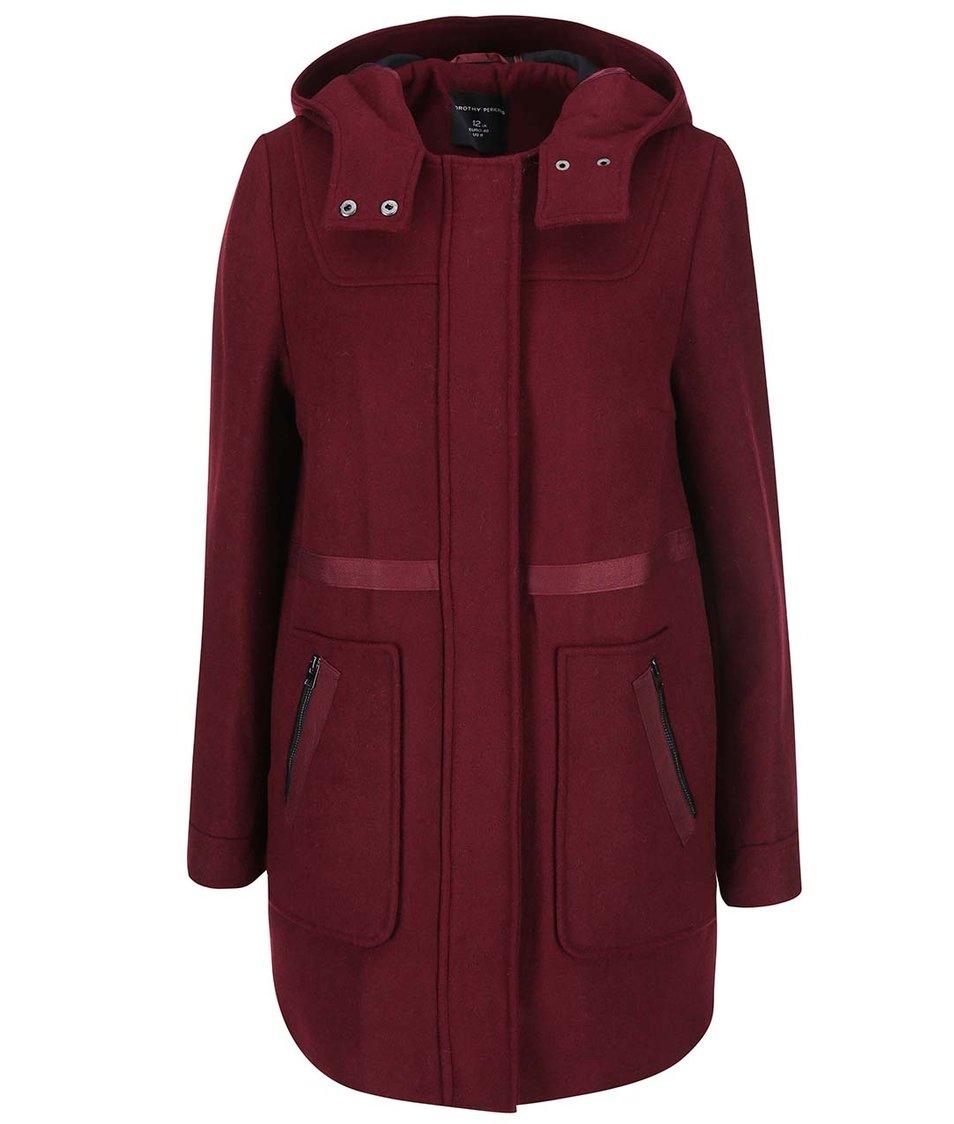 Vínový kabát s kapucí Dorothy Perkins