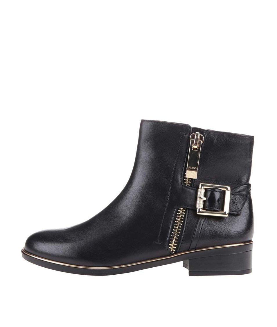 Černé dámské kožené boty ALDO Alyva