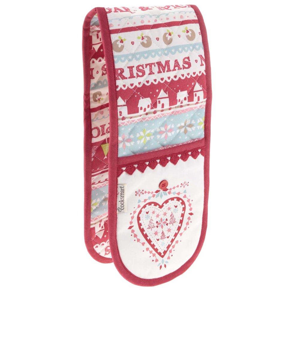 Krémovo-červené chňapky s vánočním motivem Cooksmart Sugar and Spice