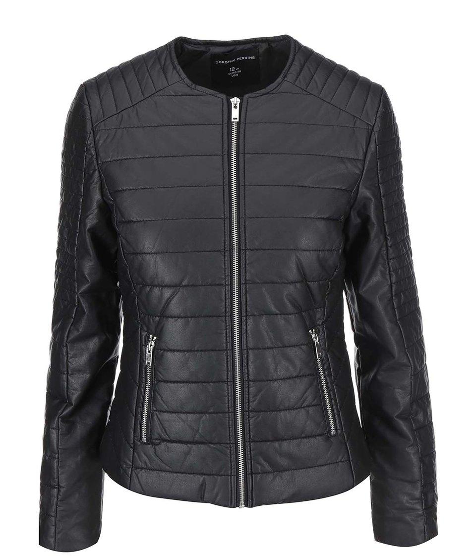 Černá prošívaná koženková bunda Dorothy Perkins