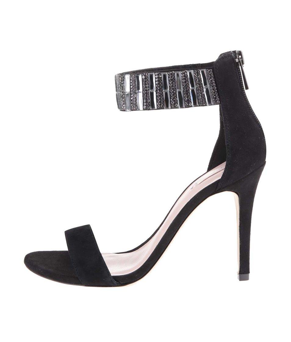 Černé kožené sandálky na podpatku Aldo Galenadda
