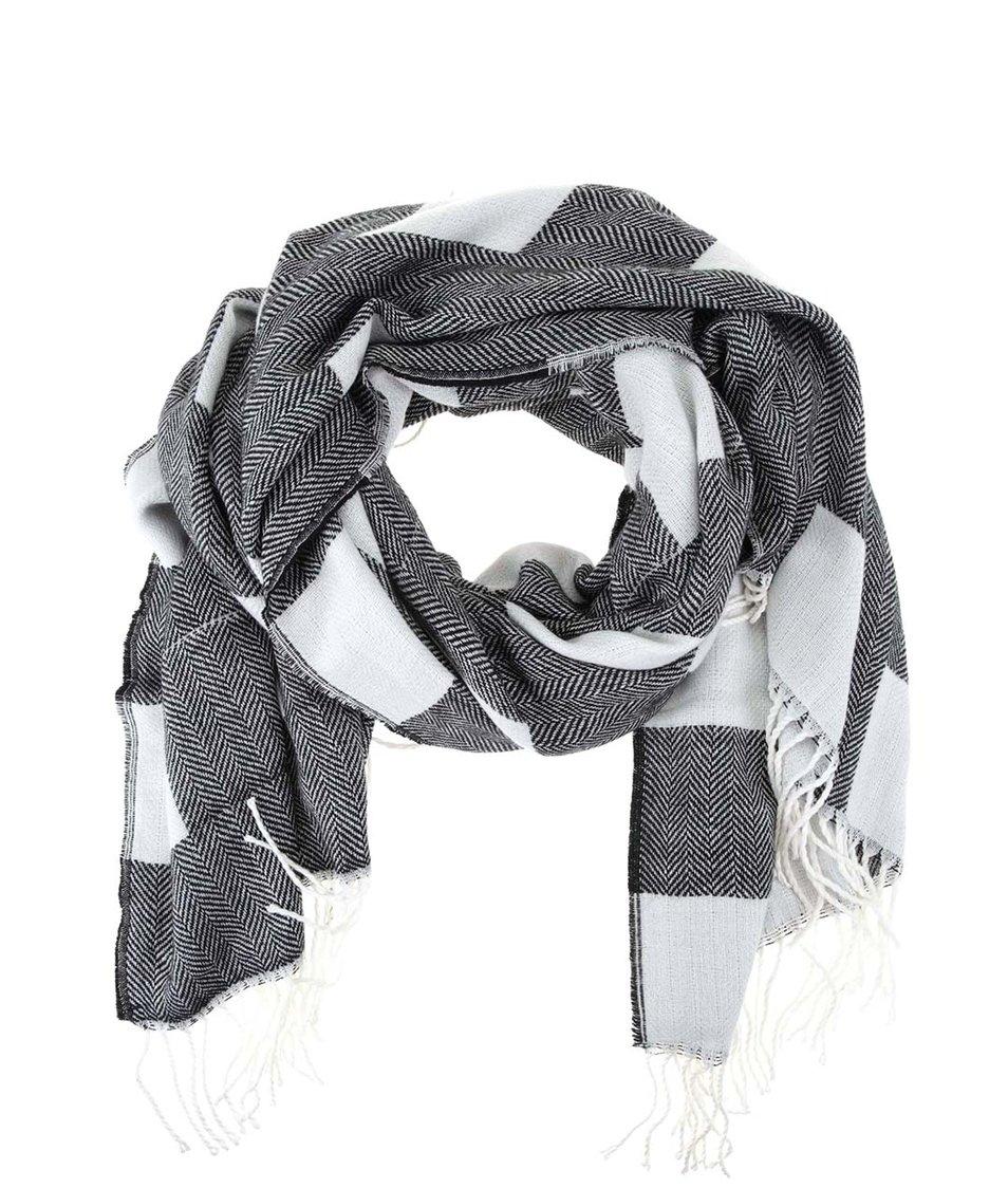 Černo-bílá kostkovaná šála Vero Moda Agnes