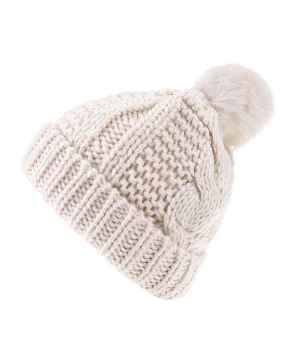 Krémová čepice s bambulí Vero Moda Hege