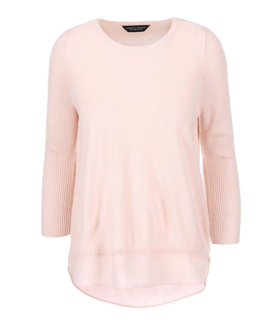 Růžový svetr s halenkovým lemem Dorothy Perkins