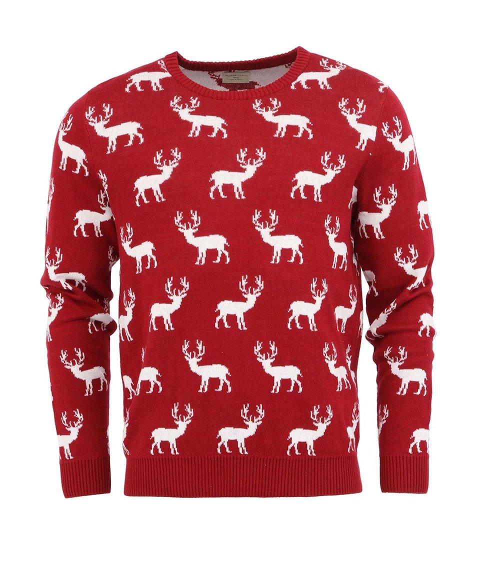 Červený svetr se soby Selected Reindeer