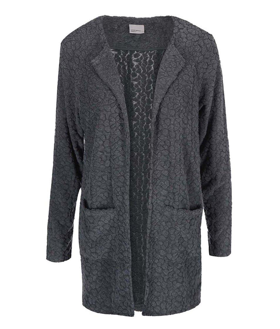 Tmavě šedý dlouhý cardigan Vero Moda Duddie