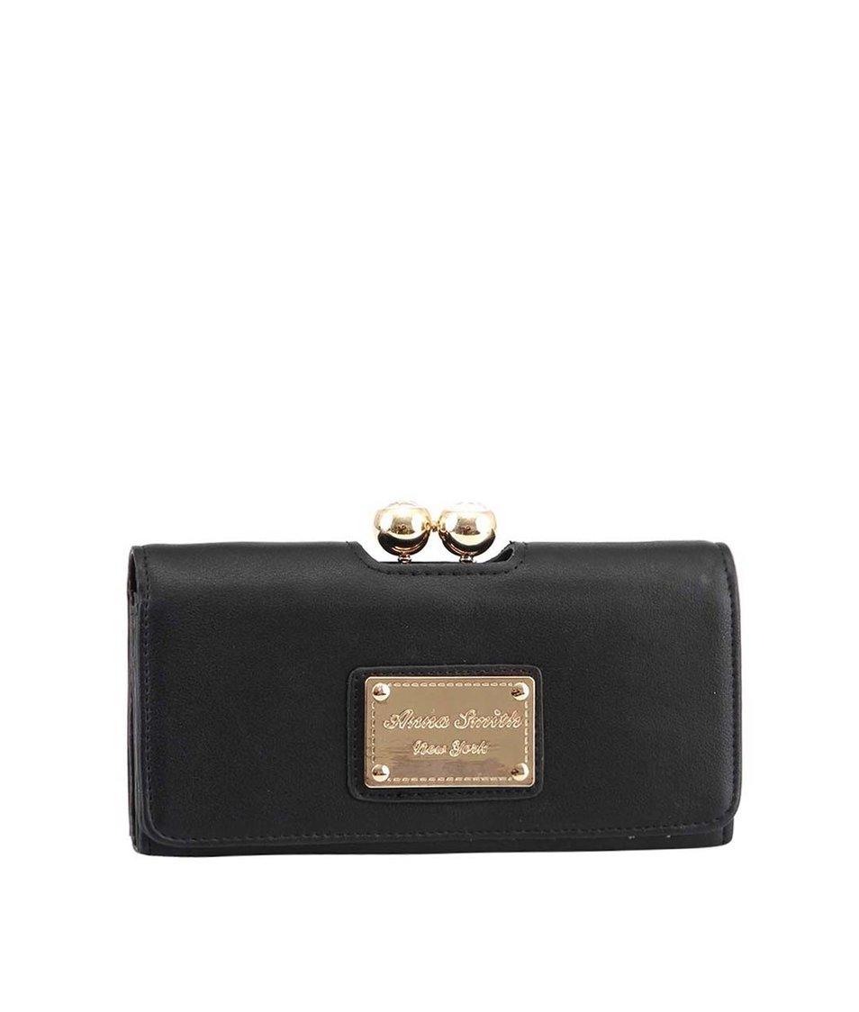 Černá peněženka se zapínáním s kamínky Anna Smith