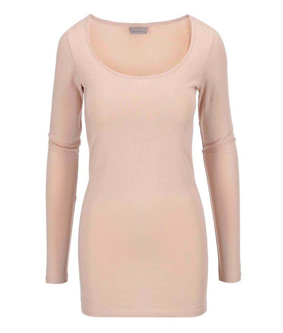 Světle růžové dlouhé tričko Vero Moda Maxi My
