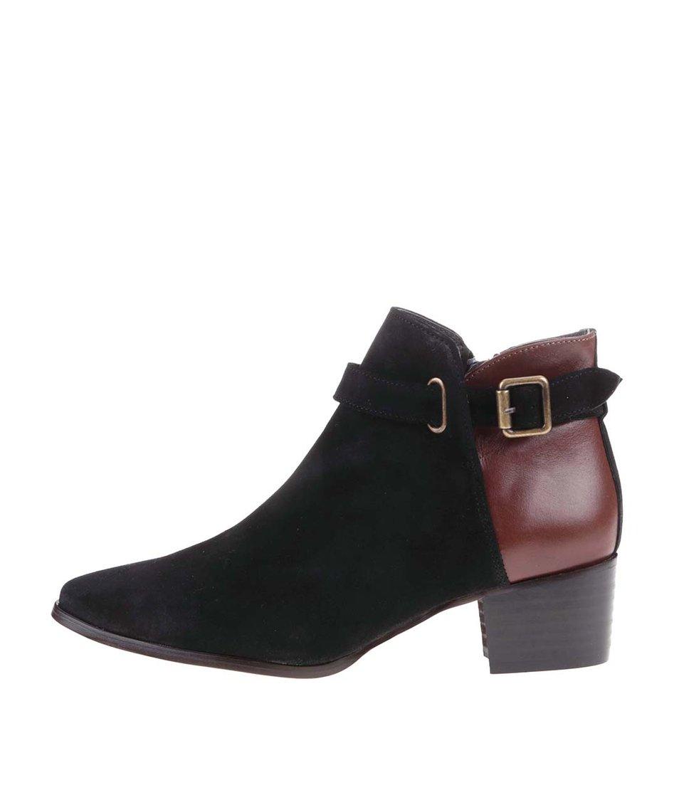 Hnědo-černé kožené kotníkové boty na podpatku OJJU