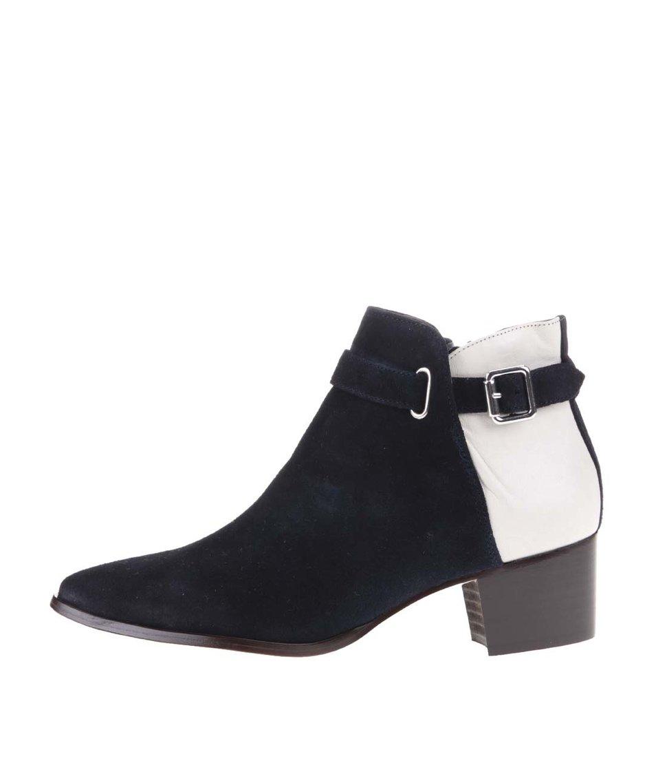 Krémovo-modré kožené kotníkové boty na podpatku OJJU