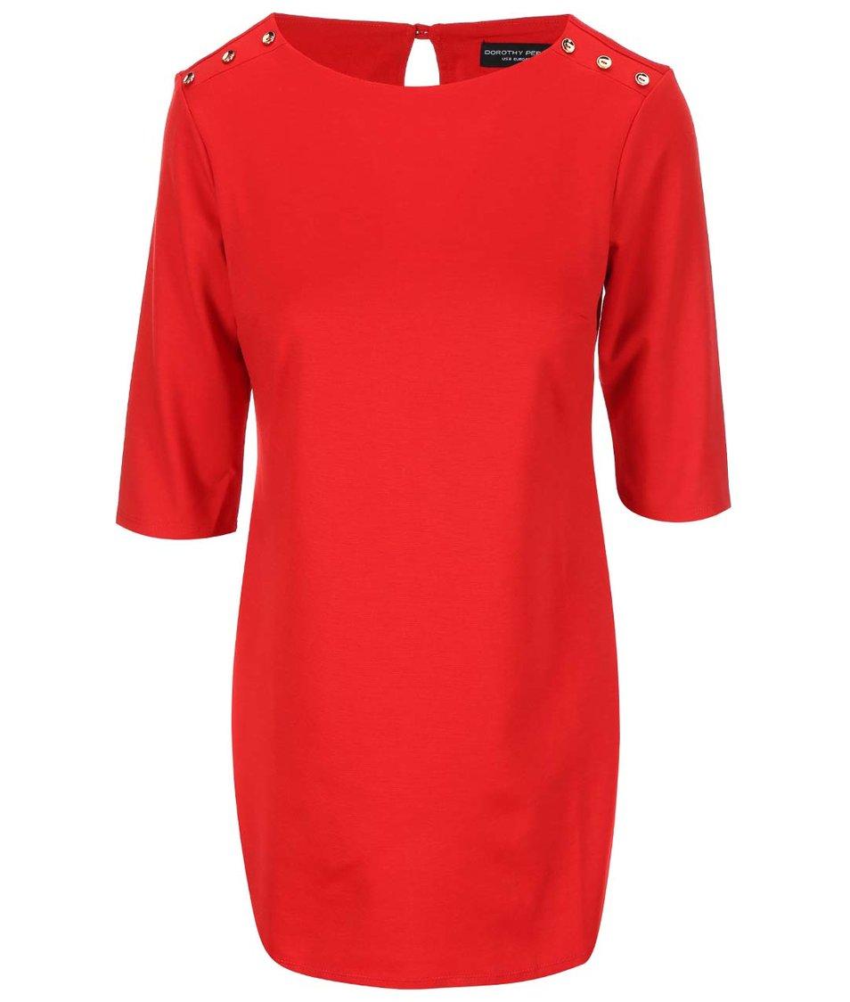 Červené šaty s knoflíky na ramenou Dorothy Perkins